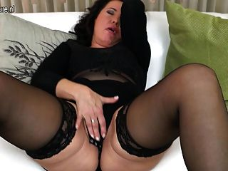 Horny Mature Slut Mom Playing On The Couch