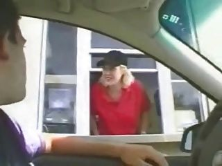 Dude Persuades Drive Thru Chick To Flash Her Tits