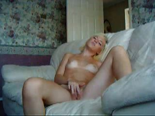 Young Amateur Blonde Masturbate On A Couch!