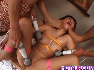 Rin Satomi Asian Doll Is Tied And Teased With Dildos In Gang