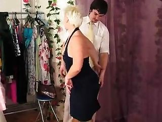 Russian Milf In Stockings Seduces In Dressingroom