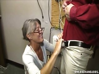 Granny Jerking An Old Man