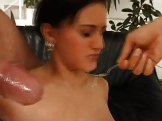 Young Slut Must Eat Disgusting Cum On A Spoon
