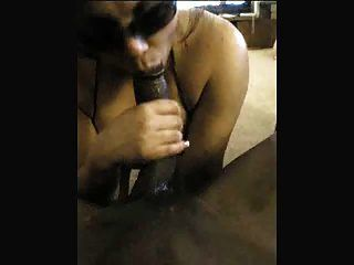 White Slut Sucks A Huge Black Cock