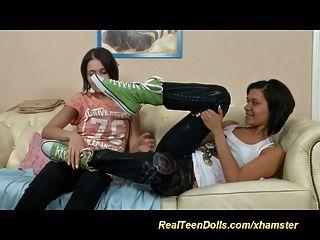 Sweet Lesbians Anal Strapon