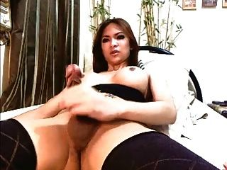 Sexy Asian Ladyboy Jerks Off And Cums.