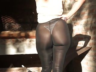 Showing Her Sexy Big Ass In Black See Through Leggings