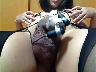Huge Uncut Japanese Sissy Foreskin Elecro Cum