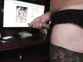 Jerkin Off - Black Lingerie, Panty Stuffing In My Ass