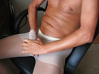 Blowing My Load In White Pantyhose