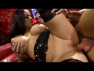 British Slut In Stockings Gets Fucked On A Red Leathersofa