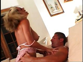 Blond Milf Gets Her Pussy And Ass Fucked On The Couch In Thresome