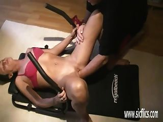 Fisting His Wife While She Does Ab Crunches