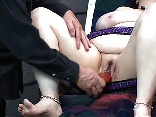 Guy Dildo Fucking A Bbw On A Bdsm Room Table