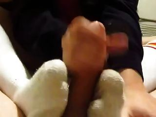 Footjob And Handjob In White Tube Socks