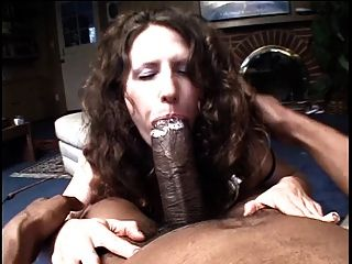 Huge Black Snake Slurped By Submissive White Brunette Milf