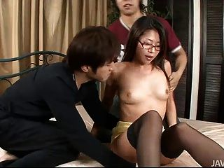 Hot Teen Mizuki Ogawa In Glasses And Thigh High Stockings