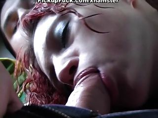 Red-haired Whore Sucking In The Car For All To See