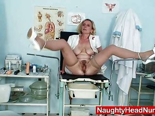 Mature Nurse Uniform Wearing Tamara Masturbation