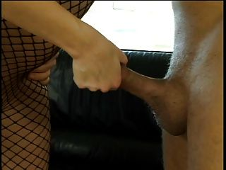 Pale Fishnetted Blonde Sucks Cock As Second Dude Drills Her From Behind