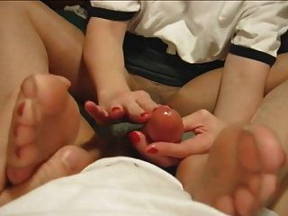 Daisy In Sheer Pantyhose Gives A Baby Oil Handjob