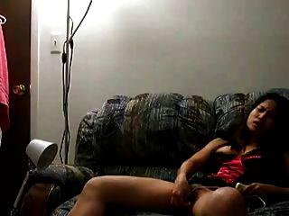 Selfshot Asian Girl Masturbates On Her Sofa