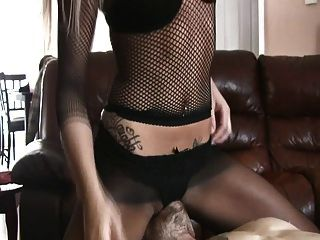 Blonde With Fishnets Gets Her Juicy Pussy Licked Up