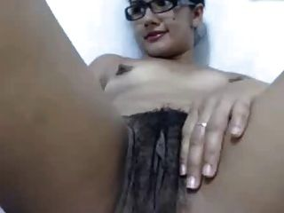 Girl With Perky Nipples Plays With Hairy Pussy