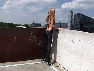 Eroberlin 18yo Cassandra Leather Teeny Outdoor Blond Skinny