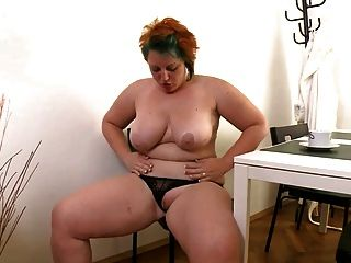 Chubby  Girl Masturbates  With  Black Dildo