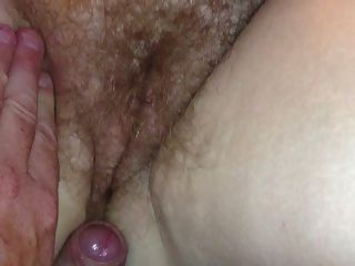 Small Cumshot On Her Hairy Pussy & Ass.