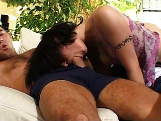 Hot French Brunette Porn Star  Has Two Cocks For Breakfast