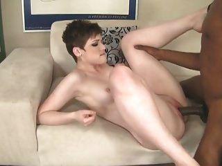 Brunette Girl Works On Black Cock