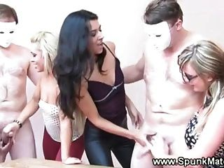 Horny Cfnm Babes Compete To Get Cum From These Lucky Guys