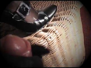Glovejob And Cumshot On Black Mary Jane Pumps