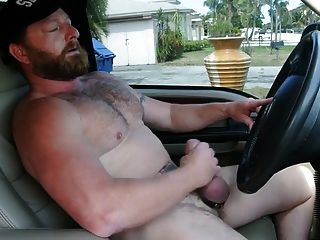 Muscle Bear Daddy Cumming In Truck