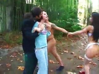 Two Men And A Woman Fuck Shemale Outdoors