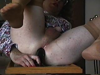 Crossdresser Fucking A Black Dildo
