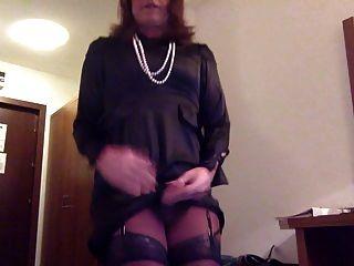 Transvestite Masturbation In Satin Dress