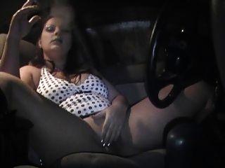 Chubby Woman Smoking In Car