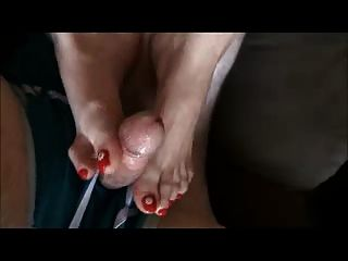 Red Toenails Toejob