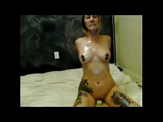 Oiled Tits Nipple Clamps Hitachi Orgasm