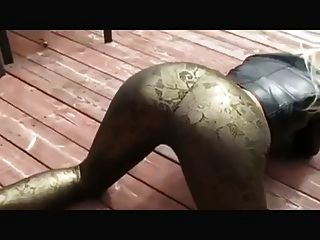 Favorite Doggy Style In Gold Leggins Heels Leather Jacket