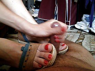 Footsie Footjob Handjob Toejob Cumshot Red Toenails Shoejob