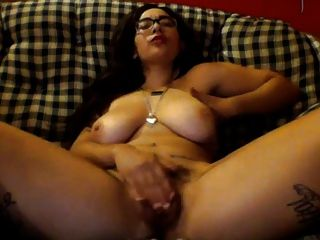 Glasses And Big Tits On Girl With Hairy Pussy