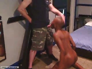 Black Slave Sucks White Military Daddy Cock