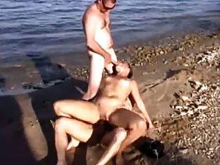 Nude Beach - Hot Mmff Foursome Cim Facial
