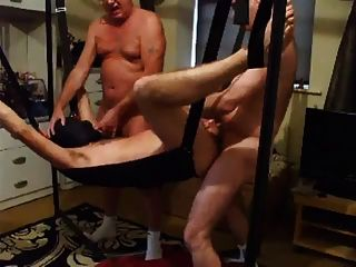 Back In The Sling Blindfolded With The Boys Taking Turns!!