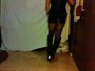 Satin Miniskirt And High Heels Boots