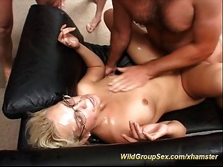 German Teen Gangbang Bukkake Party